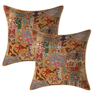Indian Cotton Abstract 24 x 24 Vintage Patchwork Bohemian Couch Pillow Covers