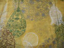 Vintage Retro 70's Chinoiserie Lantern Fan Sheer Fabric ~ Yellow Green Silver