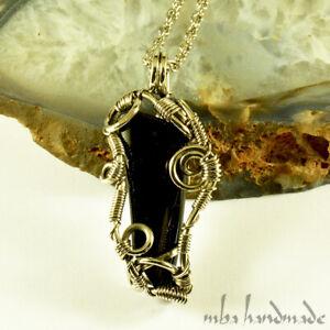 Onyx Crystal Pendant German Silver Wire Wrapped Gemstone Artisan Jewelry