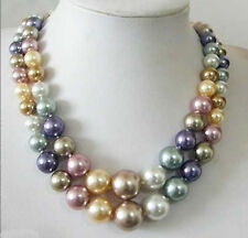 2 Rows Multicolor South Sea Shell Pearl White Gold Plated Clasp Necklace