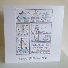 Personalised Birthday Card Boats Sailing Theme