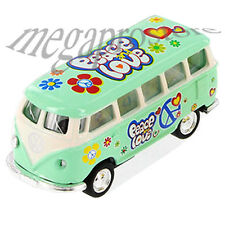 Kinsmart 1962 Volkswagen Classical Samba Bus 1:64 with Pace & Love Decal Green