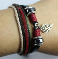 Hot Leaf Leather Adjustable Bracelet Handmade Jewelry Cuff Women/Men`s Bangle Y