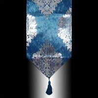 RARE SHINY BLUE THICK VELVET SILVER DAMASK TASSEL WEDDING BED TABLE RUNNER CLOTH
