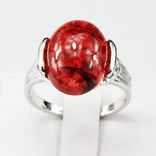 Amber Gemstone Fashion New  Jewelry 925 Silver Men Women Ring Size 7