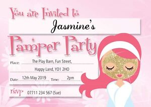 PAMPER PARTY PERSONALISED BIRTHDAY PARTY INVITES Invitations Pack of 10