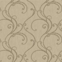 Wallpaper Designer Filigree Scroll in Brown on Taupe Beige Texture