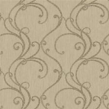 Wallpaper Designer Filigree Scroll in Brown on Taupe Beige Texture
