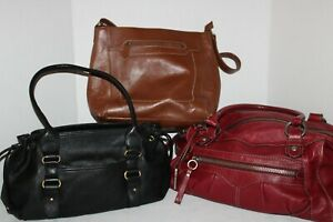 Lot of 3~Leather HANDBAGS~Purses~RED Fossil~BLACK Bernini~BROWN Etienne Aigner