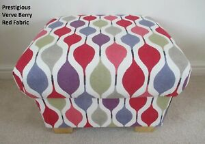 Prestigious Verve Berry Red Fabric Footstool Pouffe Footstall Retro Purple Blue