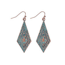 Fashion Vintage Bronze Unique Drop Dangle Carved Women Retro Gypsy Earrings