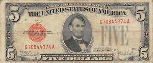 USA  $5  Series of 1928 E  P 379e  Block  G -  A  Circulated Banknote