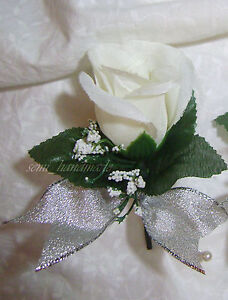 Ivory~Silver~Rose Boutonniere