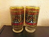 """Lot of 2 Arby's Stained Glass Tumblers Tiffany Style Drinking Glasses 5 7/8"""" Tal"""