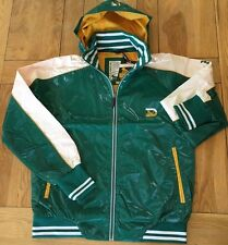 Mens BNWT Green/  DRUNKNMUNKY hooded wet look fashion panel jacket Large