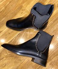 BNWOB Zara Talla 3 Negro Tachonado Botas al Tobillo Chelsea