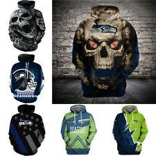 Seattle Seahawks Hoodies Fan Hooded Sweatshirt Men's Casual Pullover Jacket Coat