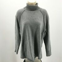 J.Jill Long Sleeve Turtleneck Knit Pullover Sweater Womens L Grey Cotton Blend