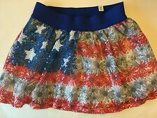 NWT JUSTICE GIRLS SEQUIN FLORAL FLAG SKIRT GIRLS 10 USA AMERICAN FLAG 4TH JULY