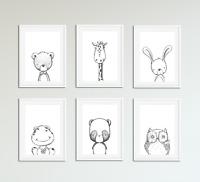 Neutral Nursery Decor / Prints, Hand Drawn Animal Children's Bedroom Art