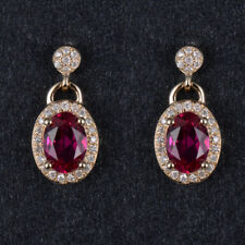 Natural Diamond Oval Red Ruby Drop Earrings Solid 14K Yellow Gold Women Jewelry