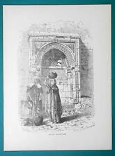 ISRAEL Saracenic Fountain in Jerusalem - 1877 Wood Engraving Illustration