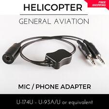 Helicopter to General Aviation Adapter Aircraft Pilot Headset U-174U U-93A/U mic