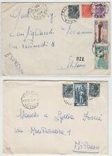 SIRACUSANA  LOTTO 2 BUSTE PLURI AFFRANCATE VIAGGIATE  1 ESPRESSO 1955
