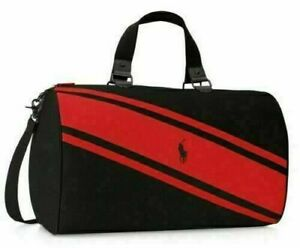 RALPH LAUREN POLO BLACK AND RED DUFFLE BAG TRAVEL WEEKEND
