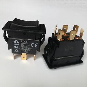 1Pc KEDU HY60B 6 Pins 125/250V 20/15A Electric Rocker Pushbutton Switch for Tool