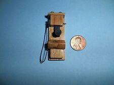 DOLLHOUSE MINIATURE 1920'S OLD FASHIONED CRANK OAK WALL PHONE/TELEPHONE