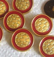 "1 & 1/8"" Large set 8 vintage new fancy gold tone metal buttons Red ENAMEL border"