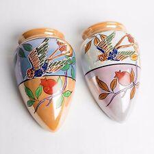 Vtg 1930's   JAPAN HAND PAINTED Art Deco  WALL POCKET  BIRDS
