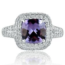 3.08 Ct Cushion Cut Tanzanite Diamond Engagement Ring 18k White Gold Anniversary