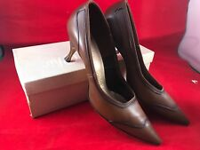 VINTAGE MISTER CHIC LADIES' SIZE 8 1/2 AA BROWN LEATHER HIGH HEEL SHOES