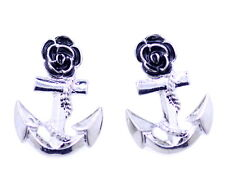 Vintage retro style silver and black flower and anchor stud earrings