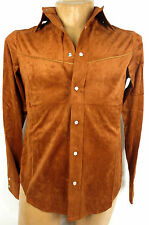 POV Mens Austin Faux Suede Western Retro Vintage Shirt Brown Medium #118F CA807