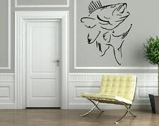 FISH & HUNT SEA BASS OCEAN MARINE DECOR Wall MURAL Vinyl Art Sticker M206