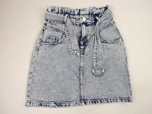H&M Divided Womens Skirt Size 2 Acid Wash Above Knee Ruffle Waist Belt - V84