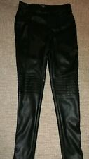 Skinny Motorcycle Leather Look Trousers Size 10