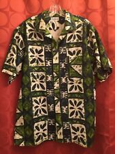 L VINTAGE 60s Tailor HAWAIIAN Shirt LIME GREEN Loop Collar SATEEN COTTON Coins