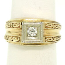 Antique Art Deco Mens Etched 14K Yellow Gold European Cut Diamond Solitaire Ring