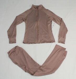 Active USA Women's Long Sleeve Full-Zip Jacket & Legging Set NB7 Pink Large NWT