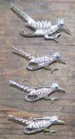 4 Roadrunner Scatter Pins Blue Rhinestone Eyes Silvertone Metal Vintage 1950s