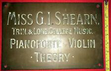 More details for c1900 brass bronze sign plaque miss shearn piano violin 12