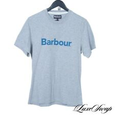 NWT Barbour of England Heather Grey Marled Turquoise Spellout Logo Tee Shirt M