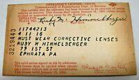 Pennsylvania Paper Operator's License Ephrata, Pa. Dept.Of Rev. 1963-64 Vintage