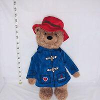 "RARE Paddington Bear CANADA Blue Jacket Red Hat Plush Stuffed Animal Toy 14"""