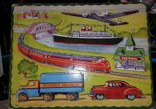Saalfield Vintage 1950 Beginner Puzzle Toytown Trucking Transportation guc