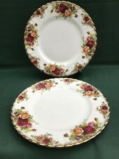"""Royal Albert Old Country Roses 8"""" Salad/Lunch Plates x 2 1st Quality Excellent"""
